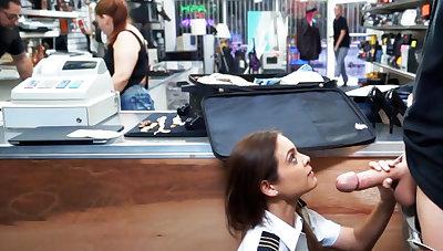 Latina stewardess suck big dick in pawnshop