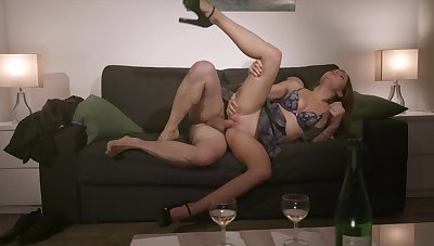 Rough sex on the couch for the shy student