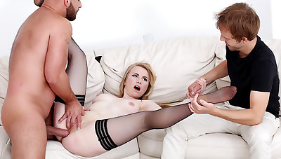 Wife Madison Stew Holds Her Cuckolds Enforce a do without While Getting Her Arse Pounded