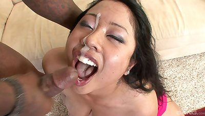 Asian woman jizzed on face mesh a rough interracial