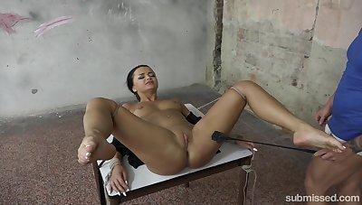 Likely brunette Daphne Klyde enjoys enduring friend's penis in the BDSM