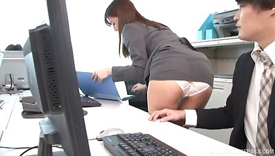 Aya Kisaki gets their way pussy filled round a hard penis nearby the office