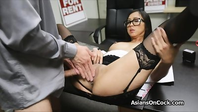 Asian cutie does a in the midst of extra on job interview
