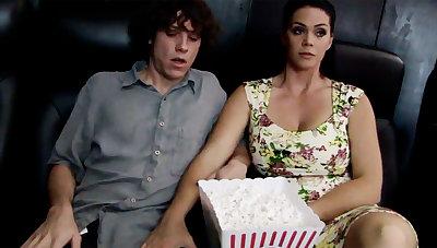 Horny milf agitate rearward stepson's dick in cinema