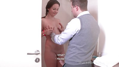Svelte on the up GF Ivanna flashes confidential and gets poked from behind