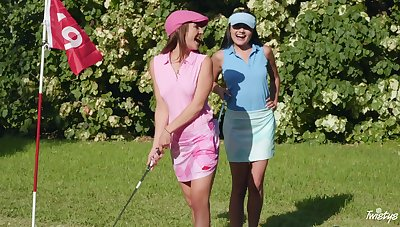 Jade Amber and Adria Rae win fucked on the golf course in trio