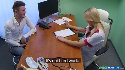 Handsome stud bangs his hot blonde nurse on het date trustees