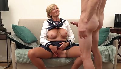 Platinum-Blonde grannie is always willing to open up her gams detailed open and get banged, till such time as she shoots a quantity
