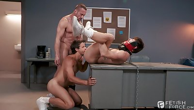 Gay bondage threesome with Nate Grimes, Drew Dixon and Myles Landon