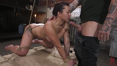 Curvaceous Asian milf Jasmine Ryder is tied up with an increment of fucked by brutal libel