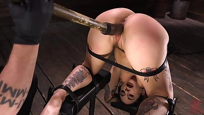 Tied up tattooed brunette slut Joanna Angel deserves some really hard masturbation