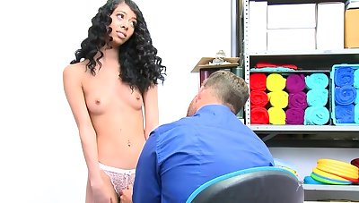Elfin ebony teen fucked wide of an horny LP officer for stealing
