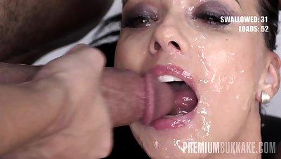 Premium Bukkake - Vicky Love swallows 40 huge gangbang cum loads