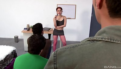 Redhead cutie Jenny moans space fully having sex with three dudes
