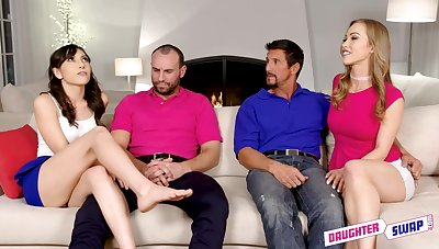 Judy Jolie and Diana are having it away their lovers on the sofa while having a casual foursome