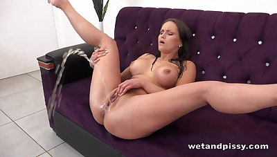 Horny alone brunette Barbara Bieber flashes her Czech pussy during pissing unequalled