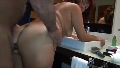 Fucked a brown-haired wife in burnish apply up to the old wazoo in burnish apply bathroom