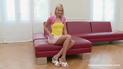Snug tits blondie Tracy Golden takes off her panties to masturbate