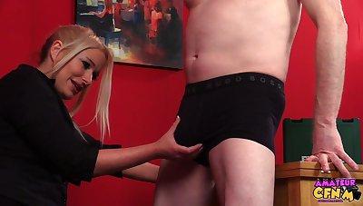 Amateur matured coxcomb enjoys getting a blowjob by clothed Kaz B