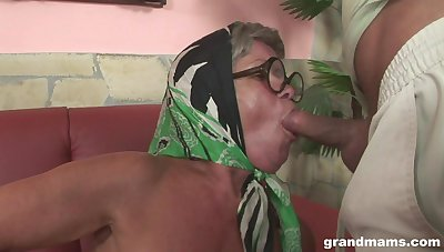 Ugly venerable woman shows say no to spectacular big tits plus fucks handsome lad