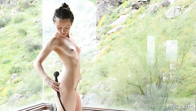Lily enjoys pleasuring her pussy while handsome a shower. HD
