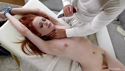Redhead gets gagged increased by roughly fucked in home maledom