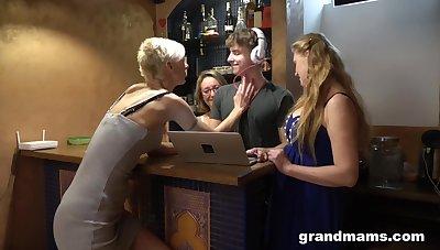 Twosome German mature sluts seduce a DJ into having a volte-face gangbang