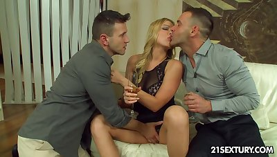 Naughty student Lucy Heart gets double penetrated for chum around with annoy first time