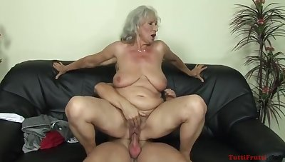 Norma Granny Fucked Riding Diabolical Pauper On Sofa With Granny Norma