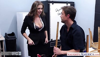 Giant breasted crazy office nympho fucks missionary damn to a great extent