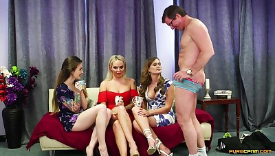 CFNM video with cock hungry babes Kylie Nymphette and Louise Lee