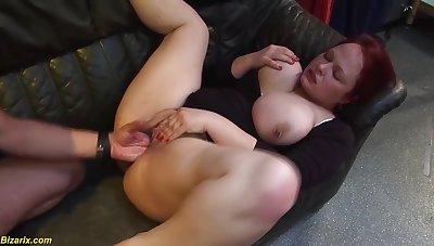 Upfront boobs nipples pierced bbw redhead german milf enjoys her first extreme fisting lesson