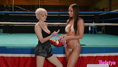 Attractive natty babes are in for boxing and lesbian scissoring