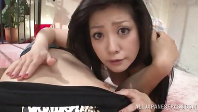 Impressive Japanese upon big tits, seductive POV on cam